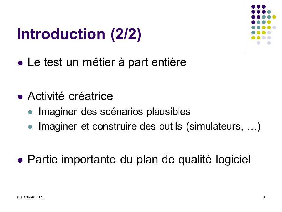 (C) Xavier Baril4 Introduction (2/2) Le test un métier à part entière Activité créatrice Imaginer des scénarios plausibles Imaginer et construire des