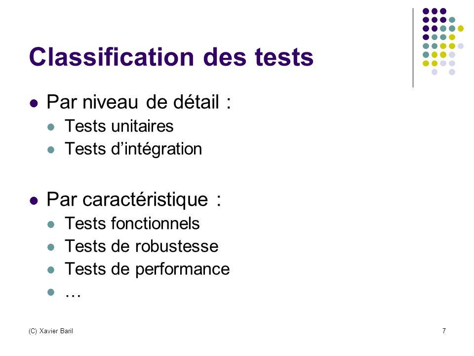 (C) Xavier Baril7 Classification des tests Par niveau de détail : Tests unitaires Tests d'intégration Par caractéristique : Tests fonctionnels Tests d