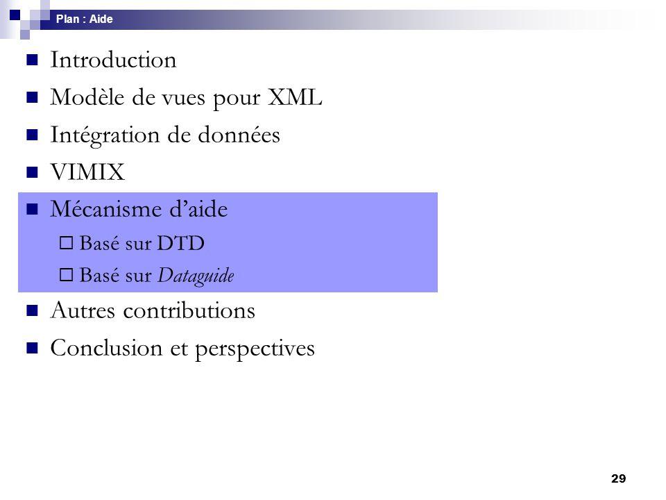 29 Introduction Modèle de vues pour XML Intégration de données VIMIX Mécanisme d'aide  Basé sur DTD  Basé sur Dataguide Autres contributions Conclus