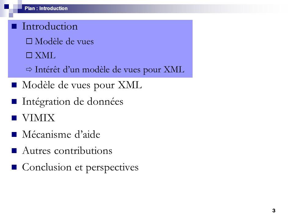 3 Introduction  Modèle de vues  XML  Intérêt d'un modèle de vues pour XML Modèle de vues pour XML Intégration de données VIMIX Mécanisme d'aide Aut