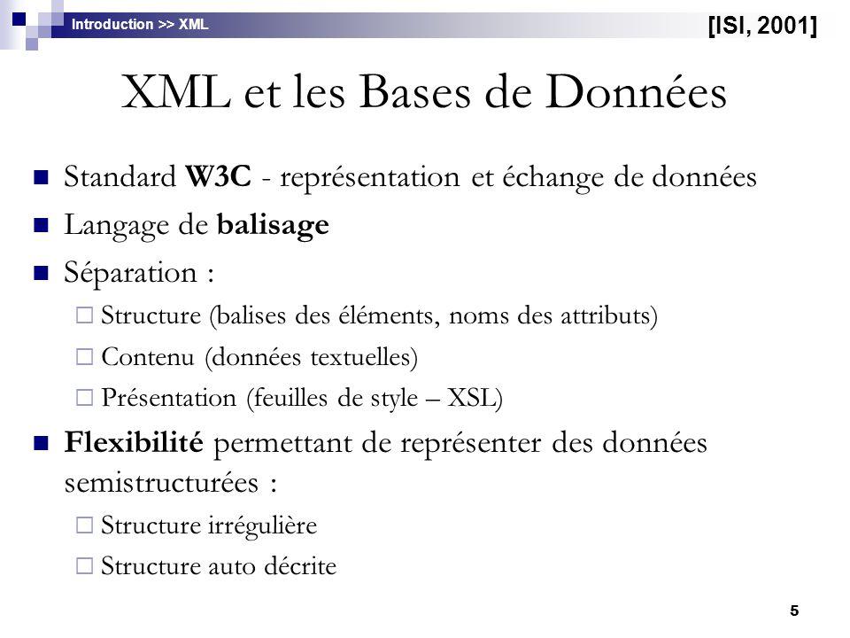 5 XML et les Bases de Données Standard W3C - représentation et échange de données Langage de balisage Séparation :  Structure (balises des éléments,