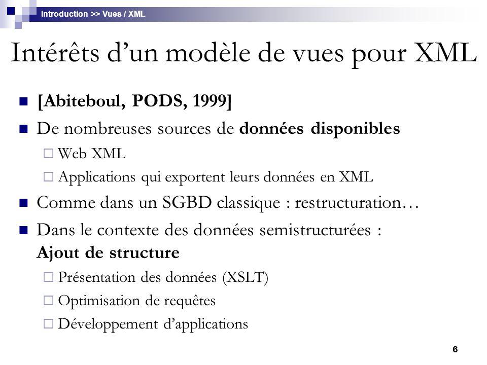 17 Apports d' XML pour l'intégration Permet de représenter la plupart des concepts des modèles de données connus  Modèle hiérarchique : structure arborescente  Modèle relationnel Relation  Element XML Attribut  Attribut CDATA Clé primaire / Clé étrangère  Attribut ID / IDREF(S), hyperliens Plus récemment : XML Schéma Typage des données élémentaires Types complexes Standard accepté et répandu Intégration >> XML