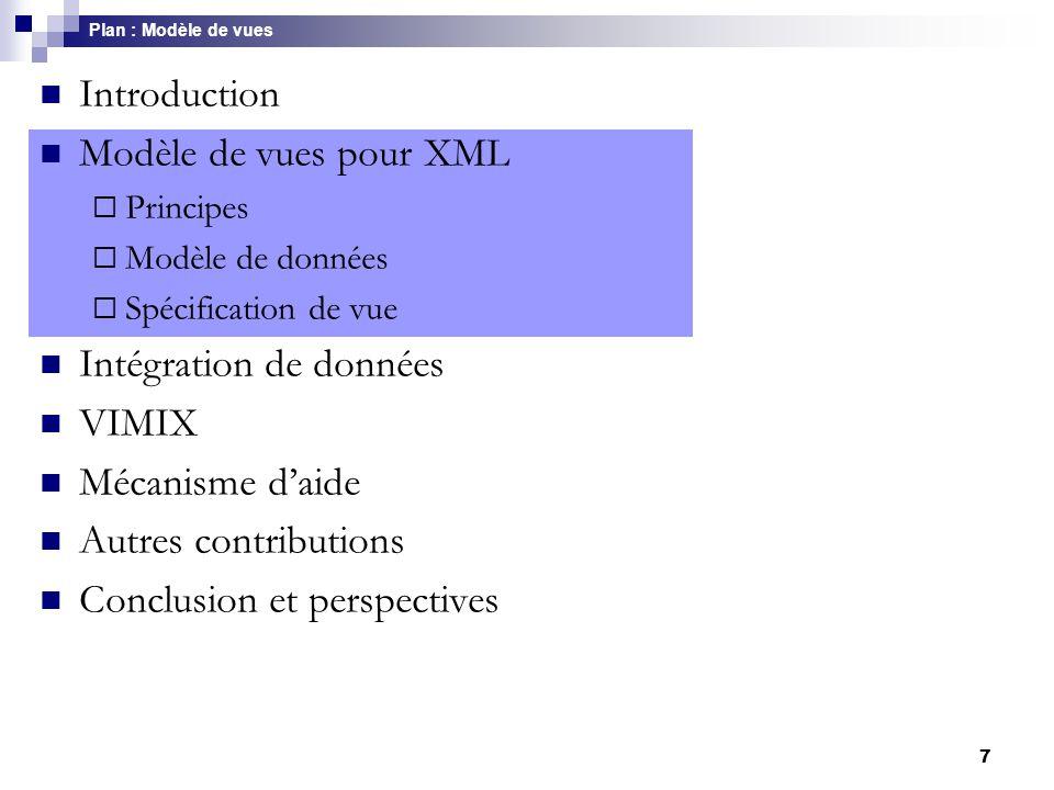 8 Principes du modèle Fondements  Un modèle de données - graphe  Un langage de requêtes - pattern-matching Propriétés  Fermeture du langage : XML  XML  Restructuration : nouveaux éléments Union Jointure Elimination des redondances Niveaux de regroupement, fonctions d'agrégation  Inférence de schéma : Vue  DTD Modèle de vues >> Principes [OOIS, 2000]