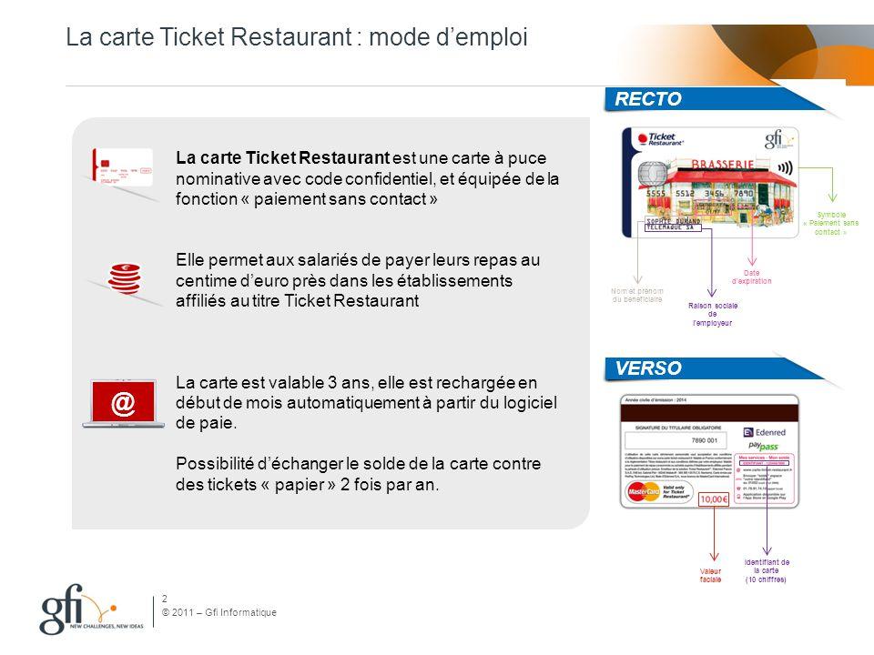 © 2011 – Gfi Informatique La carte Ticket Restaurant : mode d'emploi RÈGLES D'UTILISATION Plafond d'utilisation quotidien sans limite du nombre de transactions.