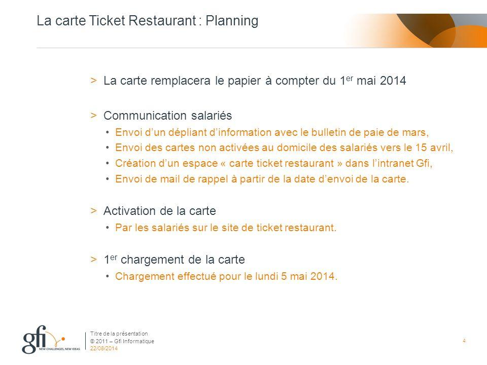 © 2011 – Gfi Informatique La carte Ticket Restaurant : Planning >La carte remplacera le papier à compter du 1 er mai 2014 >Communication salariés Envo