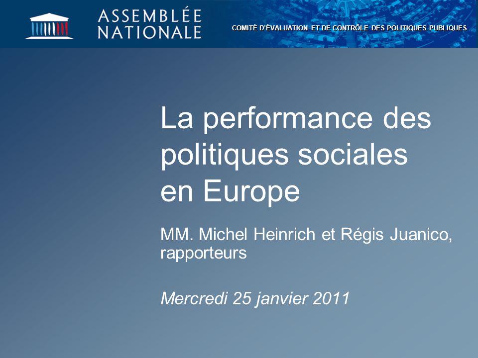 CEC 2 La « performance » des politiques sociales Trois critères principaux : efficacité, qualité et efficience Une évaluation sur la durée des politiques pour mesurer l'ensemble des impacts
