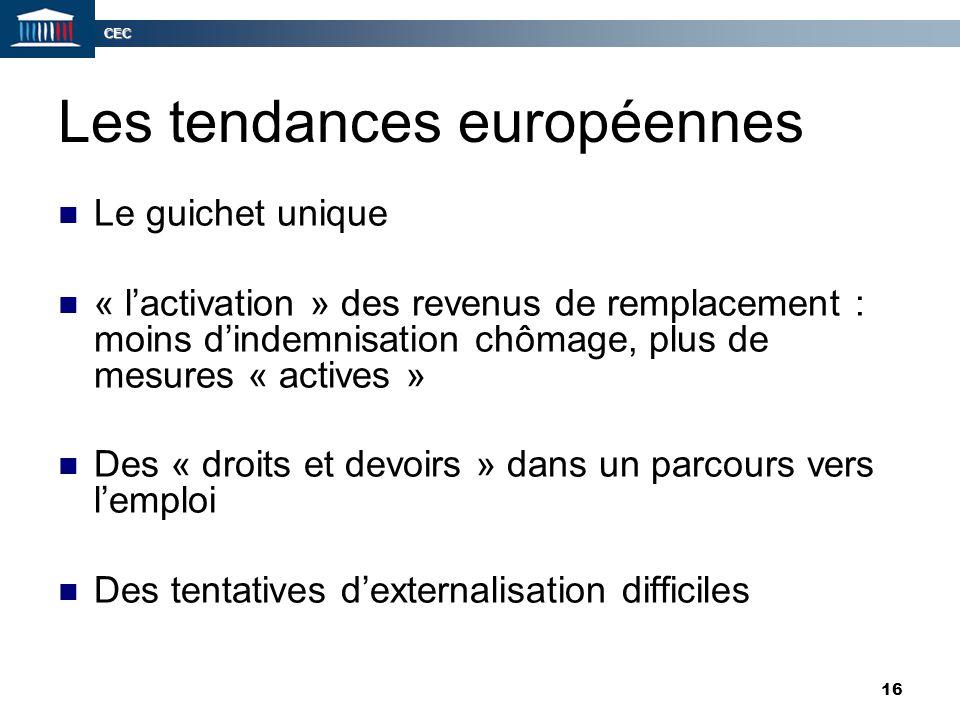 CEC 16 Les tendances européennes Le guichet unique « l'activation » des revenus de remplacement : moins d'indemnisation chômage, plus de mesures « act