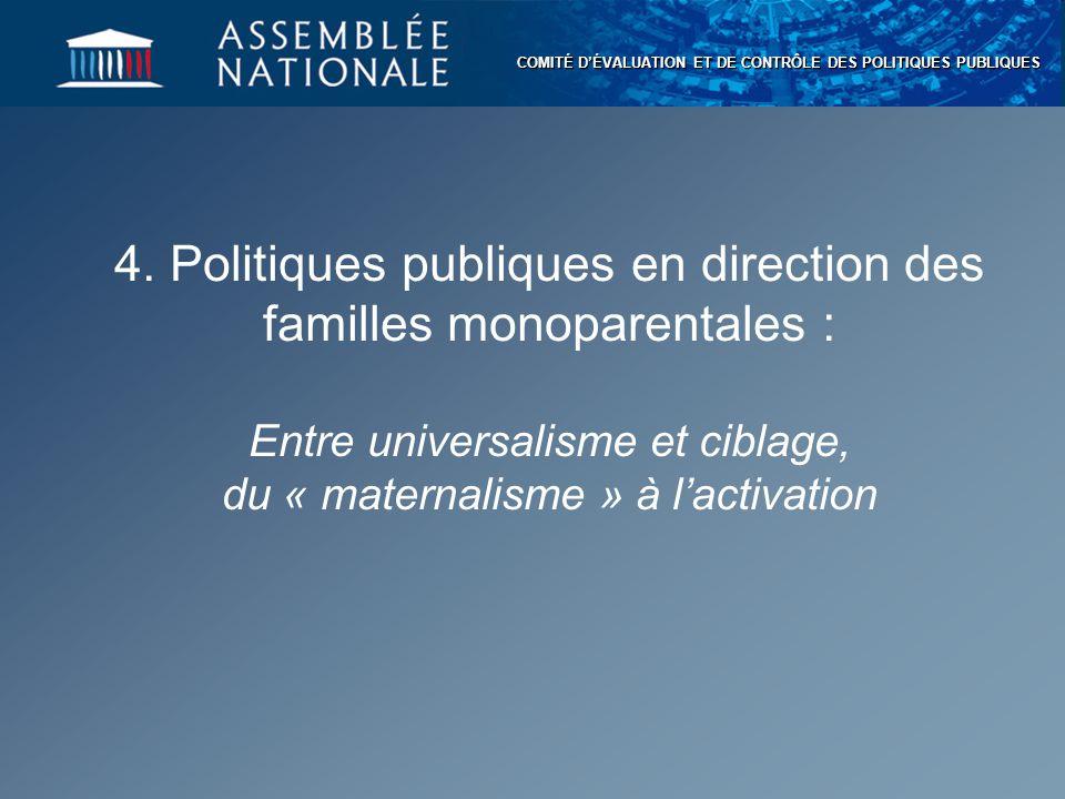 COMITÉ D'ÉVALUATION ET DE CONTRÔLE DES POLITIQUES PUBLIQUES 4. Politiques publiques en direction des familles monoparentales : Entre universalisme et