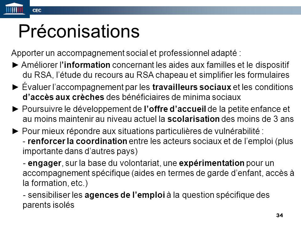 CEC 34 Préconisations Apporter un accompagnement social et professionnel adapté : ► Améliorer l'information concernant les aides aux familles et le di
