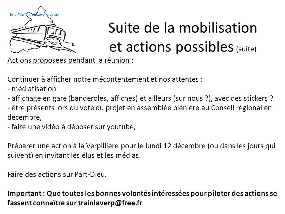 Actions proposées pendant la réunion : Continuer à afficher notre mécontentement et nos attentes : - médiatisation - affichage en gare (banderoles, affiches) et ailleurs (sur nous ), avec des stickers .