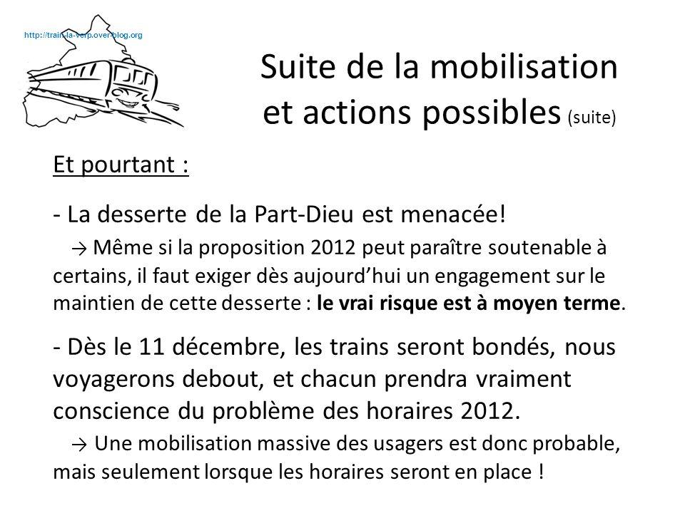 Nous proposons donc une action lorsque les horaires seront mis en place et qu'un plus grand nombre d'usagers seront prêts à se mobiliser.