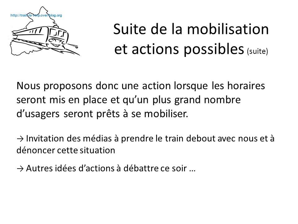 Actions proposées pendant la réunion : Continuer à afficher notre mécontentement et nos attentes : - médiatisation - affichage en gare (banderoles, affiches) et ailleurs (sur nous ?), avec des stickers .