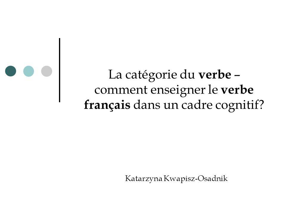 La catégorie du verbe – comment enseigner le verbe français dans un cadre cognitif? Katarzyna Kwapisz-Osadnik