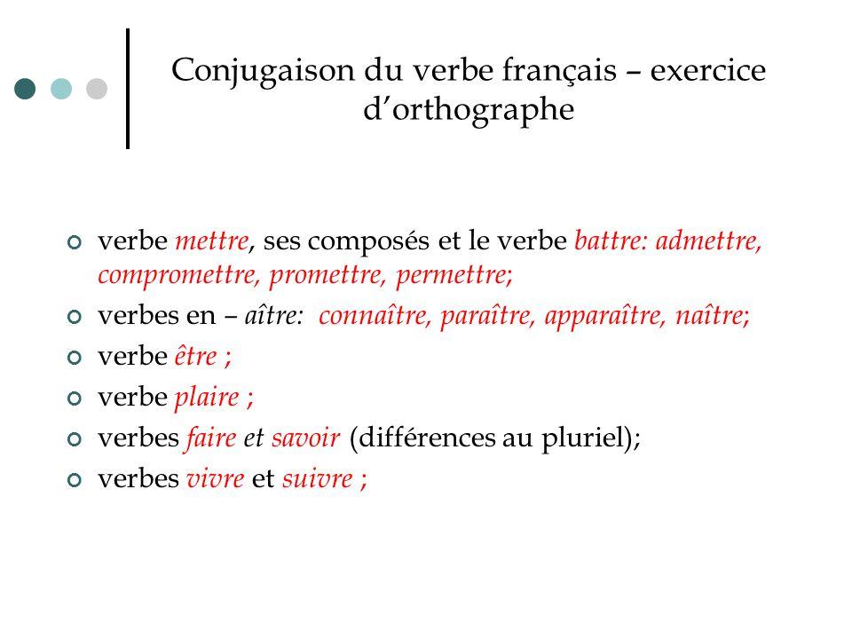 Conjugaison du verbe français – exercice d'orthographe verbe mettre, ses composés et le verbe battre: admettre, compromettre, promettre, permettre ; v