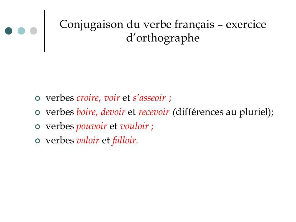 Conjugaison du verbe français – exercice d'orthographe verbes croire, voir et s'asseoir ; verbes boire, devoir et recevoir ( différences au pluriel);