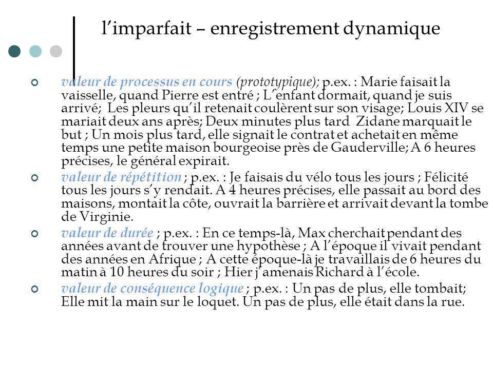 l'imparfait – enregistrement dynamique valeur de processus en cours (prototypique); p.ex. : Marie faisait la vaisselle, quand Pierre est entré ; L'enf