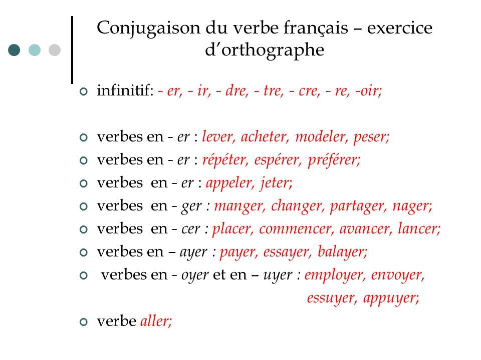 Conjugaison du verbe français – exercice d'orthographe infinitif: - er, - ir, - dre, - tre, - cre, - re, -oir; verbes en - er : lever, acheter, modele