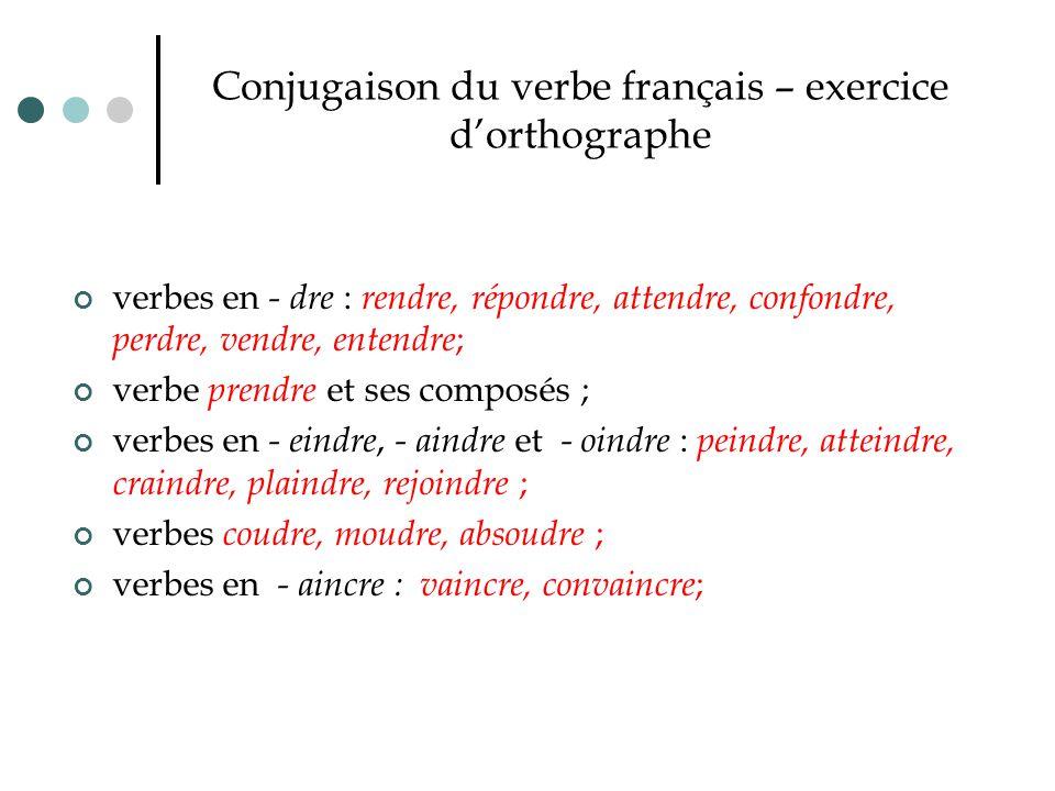 Conjugaison du verbe français – exercice d'orthographe verbes en - dre : rendre, répondre, attendre, confondre, perdre, vendre, entendre ; verbe prend