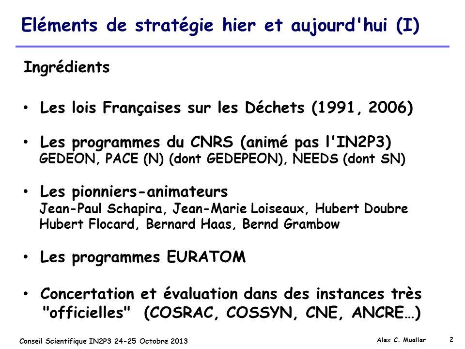2 Conseil Scientifique IN2P3 24-25 Octobre 2013 Eléments de stratégie hier et aujourd'hui (I) Alex C. Mueller Les lois Françaises sur les Déchets (199