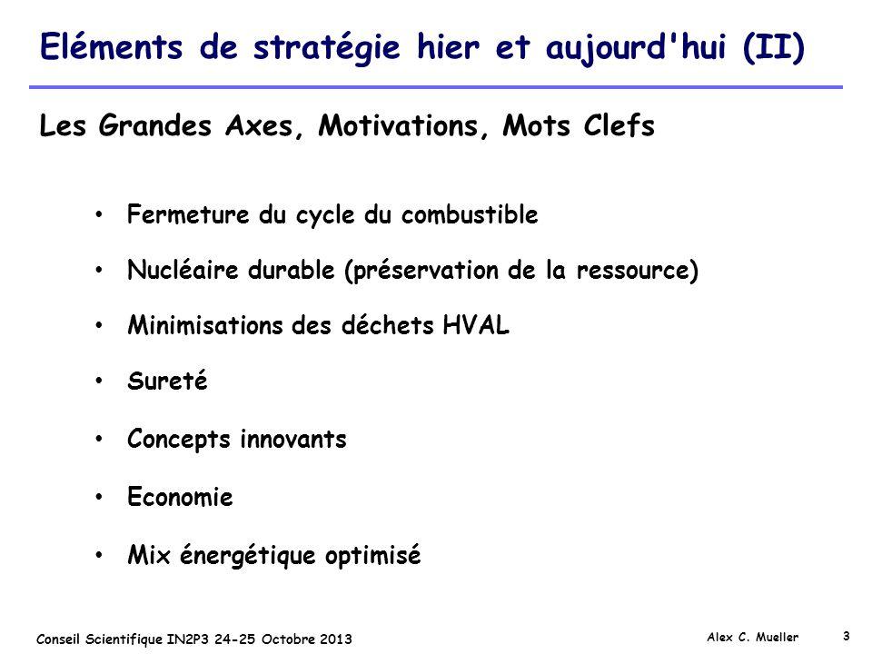 3 Conseil Scientifique IN2P3 24-25 Octobre 2013 Eléments de stratégie hier et aujourd'hui (II) Alex C. Mueller Fermeture du cycle du combustible Nuclé