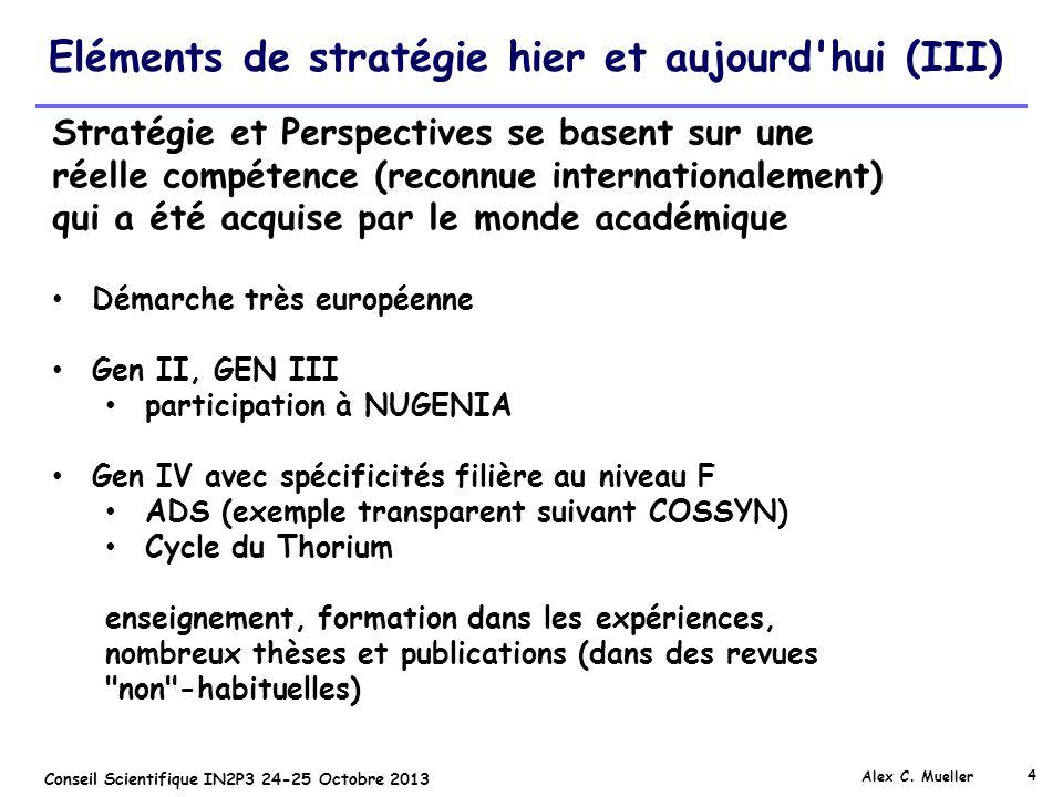 4 Conseil Scientifique IN2P3 24-25 Octobre 2013 Eléments de stratégie hier et aujourd'hui (III) Alex C. Mueller Stratégie et Perspectives se basent su