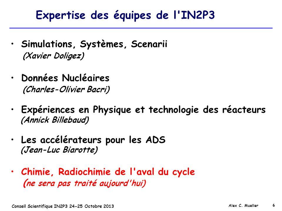 6 Conseil Scientifique IN2P3 24-25 Octobre 2013 Expertise des équipes de l'IN2P3 Alex C. Mueller Simulations, Systèmes, Scenarii (Xavier Doligez) Donn