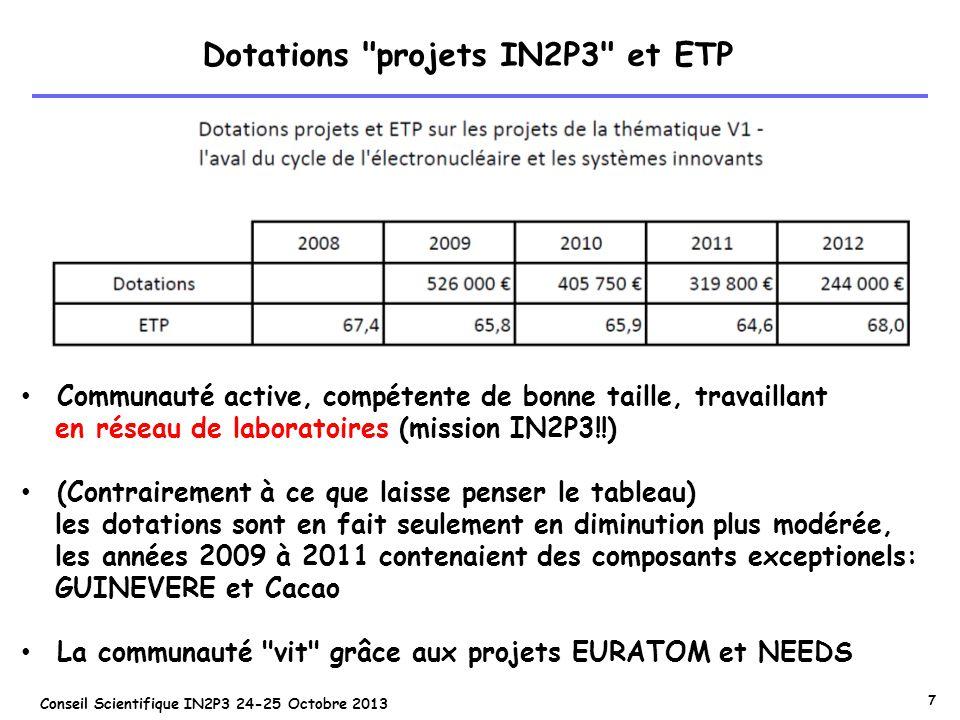 7 Conseil Scientifique IN2P3 24-25 Octobre 2013 Dotations