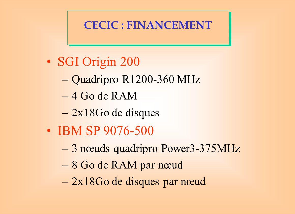 SGI Origin 200 –Quadripro R1200-360 MHz –4 Go de RAM –2x18Go de disques IBM SP 9076-500 –3 nœuds quadripro Power3-375MHz –8 Go de RAM par nœud –2x18Go de disques par nœud CECIC : FINANCEMENT