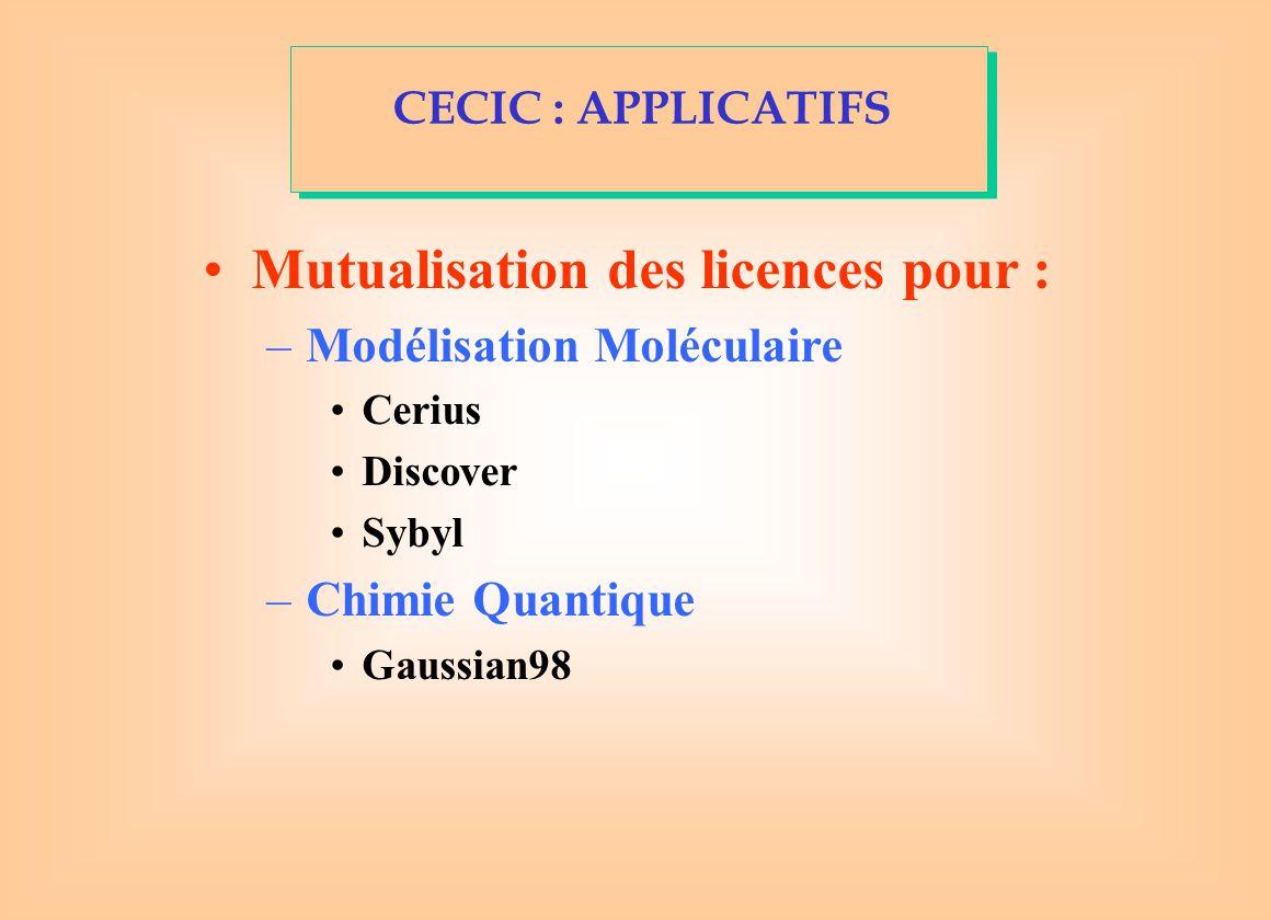Mutualisation des licences pour : –Modélisation Moléculaire Cerius Discover Sybyl –Chimie Quantique Gaussian98 CECIC : APPLICATIFS