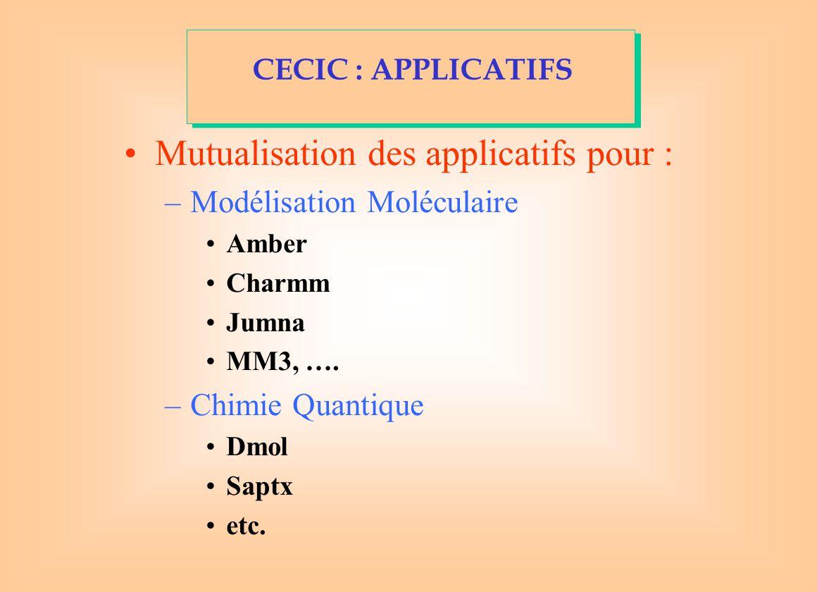Mutualisation des applicatifs pour : –Modélisation Moléculaire Amber Charmm Jumna MM3, ….