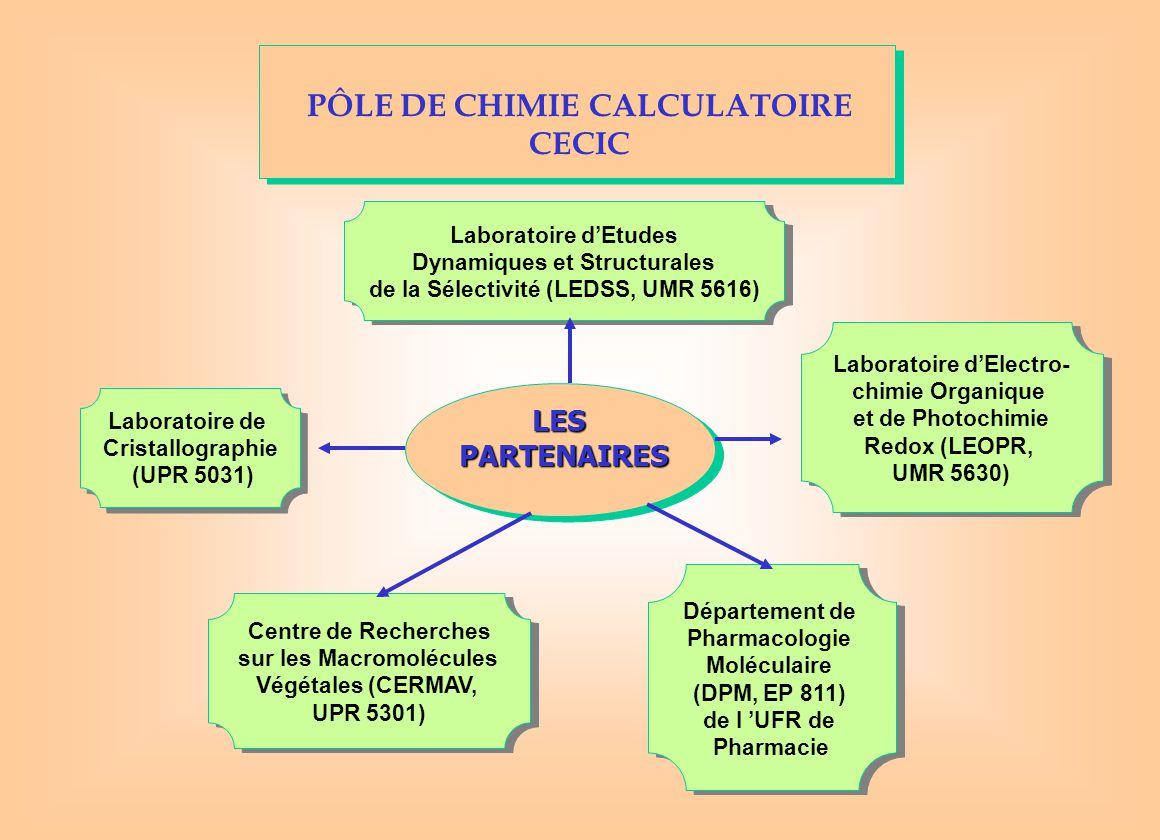 PÔLE DE CHIMIE CALCULATOIRE CECIC LESPARTENAIRES Laboratoire de Cristallographie (UPR 5031) Laboratoire de Cristallographie (UPR 5031) Laboratoire d'Etudes Dynamiques et Structurales de la Sélectivité (LEDSS, UMR 5616) Laboratoire d'Etudes Dynamiques et Structurales de la Sélectivité (LEDSS, UMR 5616) Centre de Recherches sur les Macromolécules Végétales (CERMAV, UPR 5301) Centre de Recherches sur les Macromolécules Végétales (CERMAV, UPR 5301) Laboratoire d'Electro- chimie Organique et de Photochimie Redox (LEOPR, UMR 5630) Laboratoire d'Electro- chimie Organique et de Photochimie Redox (LEOPR, UMR 5630) Département de Pharmacologie Moléculaire (DPM, EP 811) de l 'UFR de Pharmacie Département de Pharmacologie Moléculaire (DPM, EP 811) de l 'UFR de Pharmacie