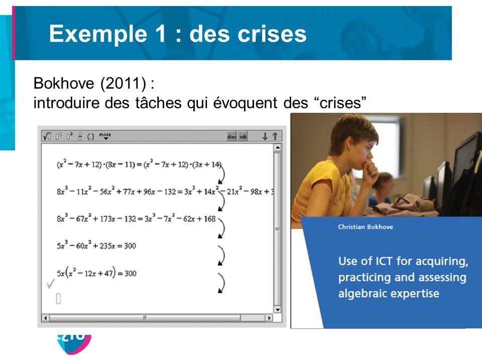 Exemple 1 : des crises Bokhove (2011) : introduire des tâches qui évoquent des crises