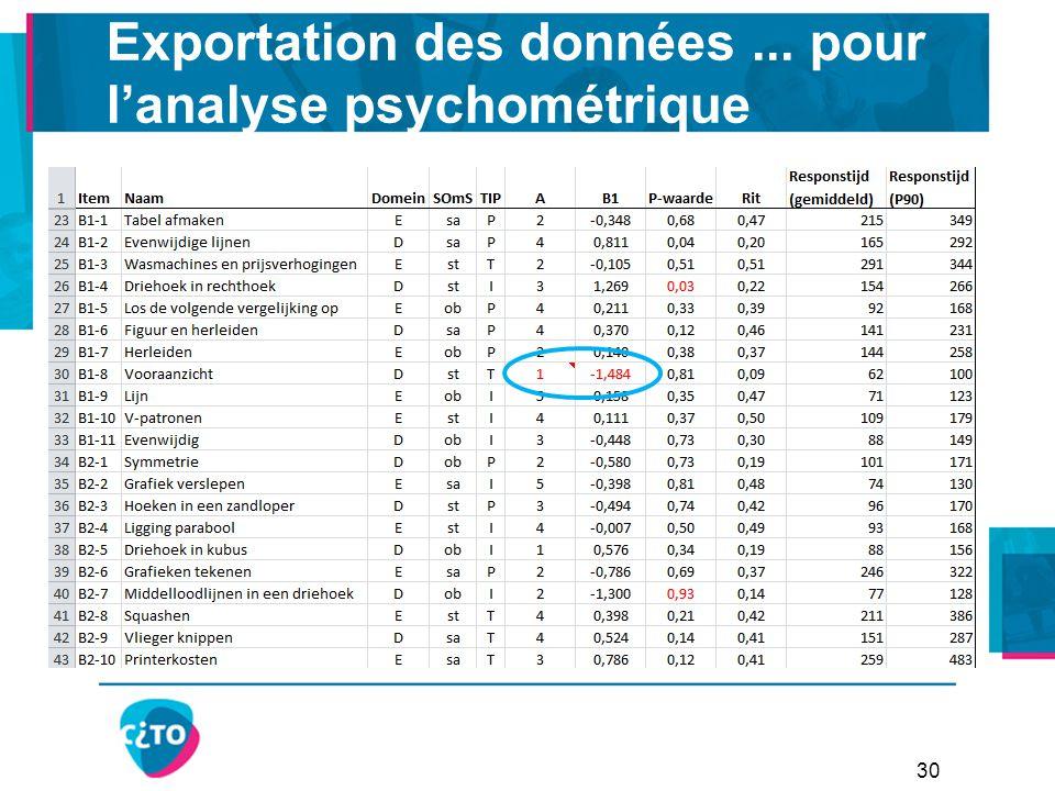 Exportation des données... pour l'analyse psychométrique 30