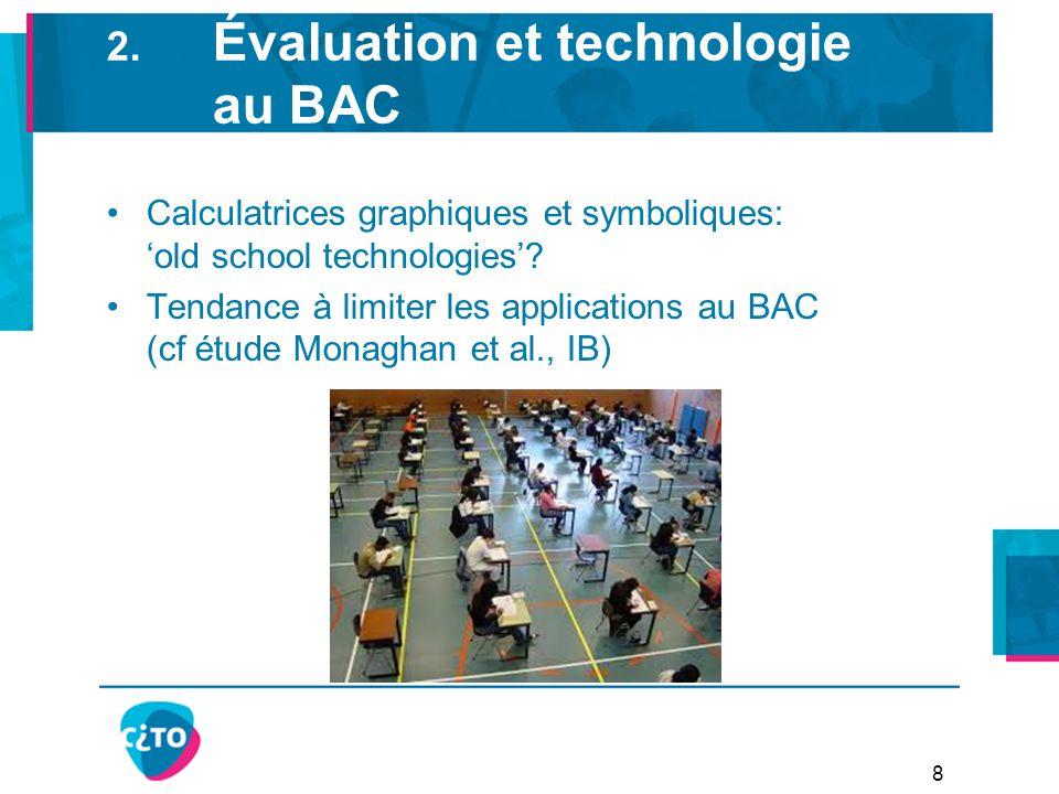 2. Évaluation et technologie au BAC Calculatrices graphiques et symboliques: 'old school technologies'? Tendance à limiter les applications au BAC (cf