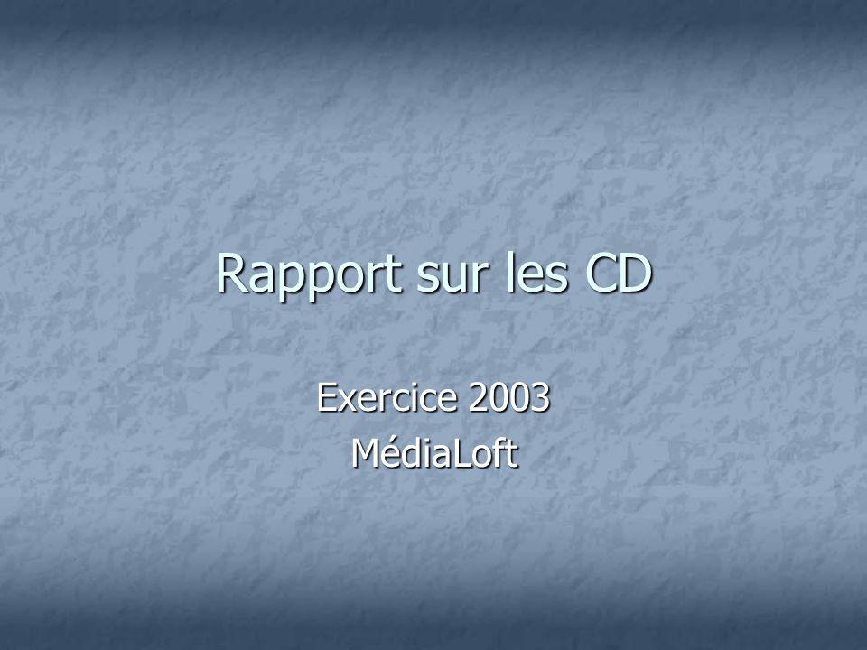 Rapport sur les CD Exercice 2003 MédiaLoft