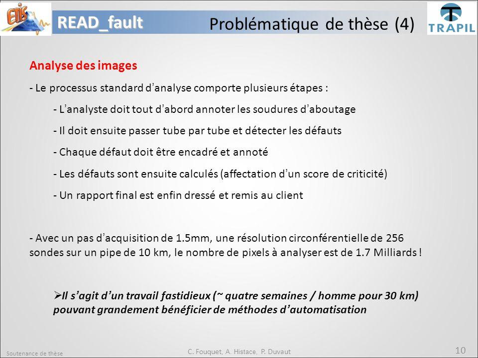 Soutenance de thèse 10READ_fault C. Fouquet, A. Histace, P. Duvaut Problématique de thèse (4) Analyse des images - Le processus standard d'analyse com