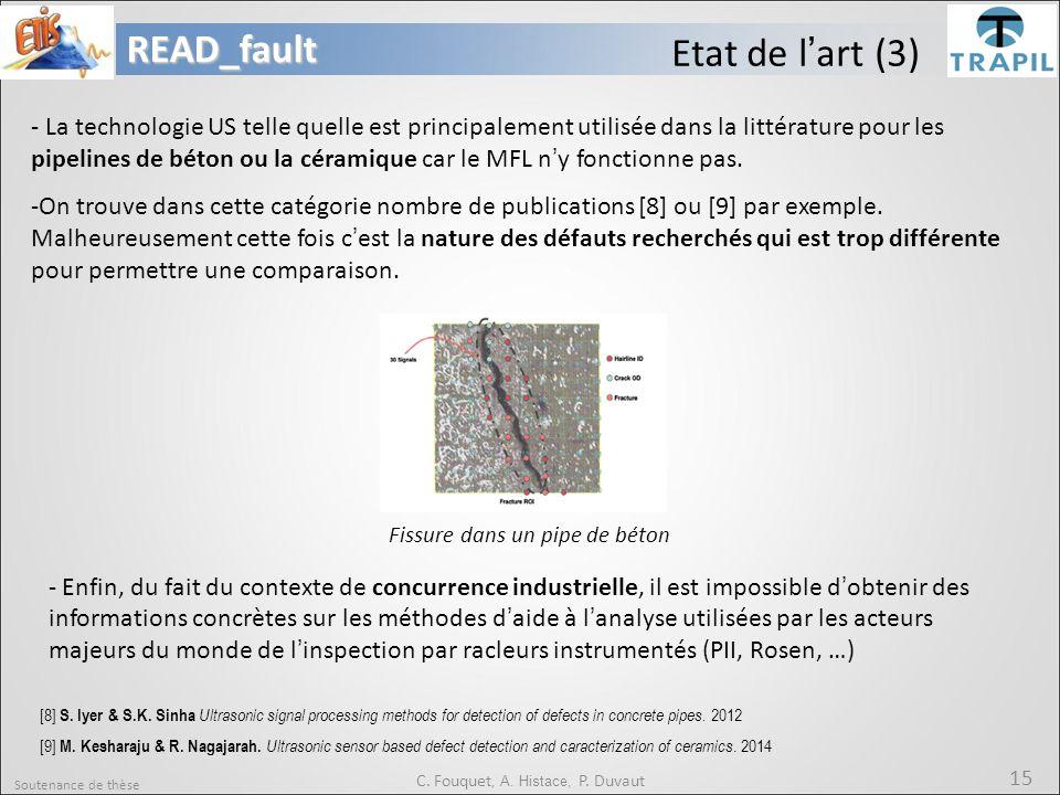 Soutenance de thèse 15READ_fault C. Fouquet, A. Histace, P. Duvaut Etat de l'art (3) [8] S. Iyer & S.K. Sinha Ultrasonic signal processing methods for