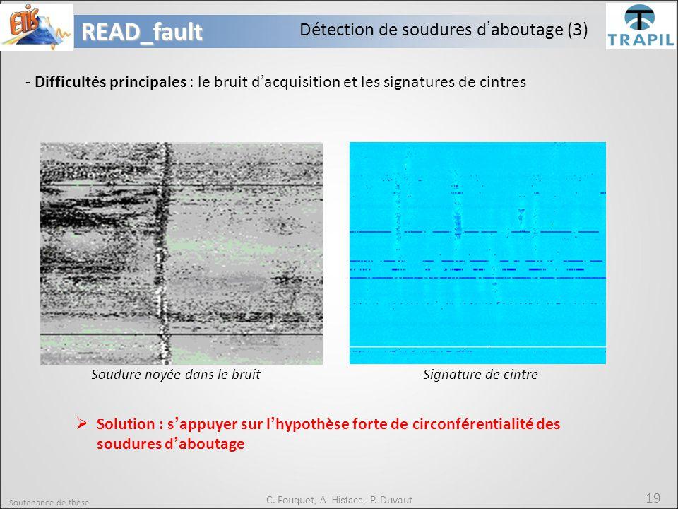 Soutenance de thèse 19READ_fault C. Fouquet, A. Histace, P. Duvaut - Difficultés principales : le bruit d'acquisition et les signatures de cintres  S
