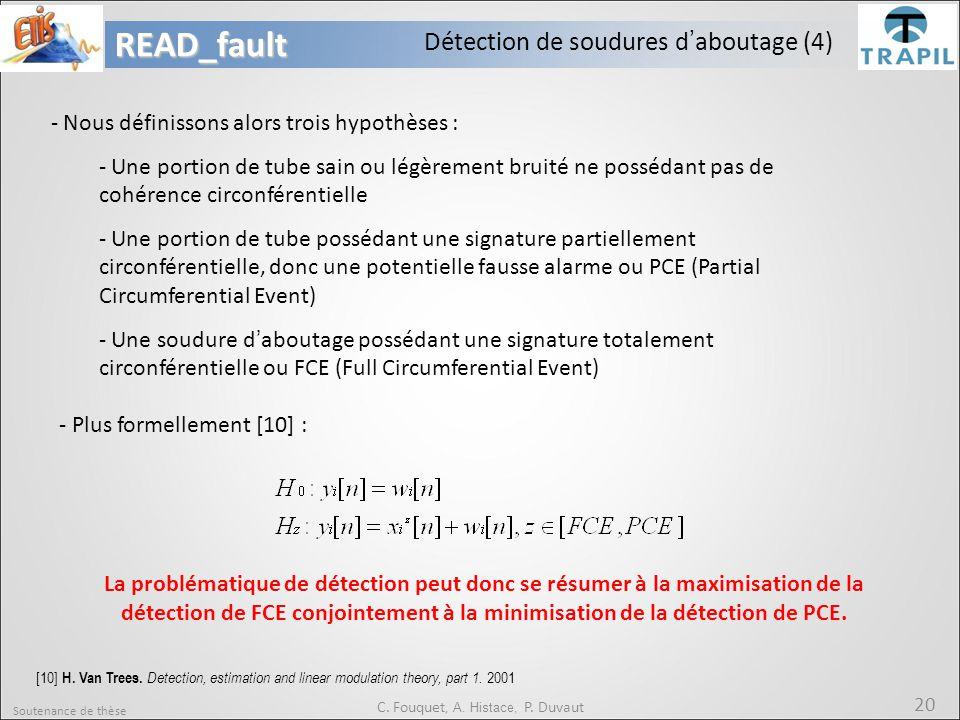 Soutenance de thèse 20READ_fault C. Fouquet, A. Histace, P. Duvaut Détection de soudures d'aboutage (4) - Nous définissons alors trois hypothèses : -