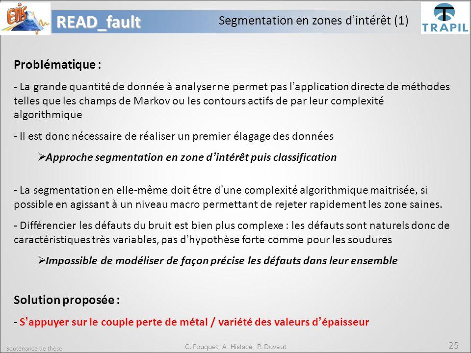 Soutenance de thèse 25READ_fault C. Fouquet, A. Histace, P. Duvaut Segmentation en zones d'intérêt (1) Problématique : - La grande quantité de donnée