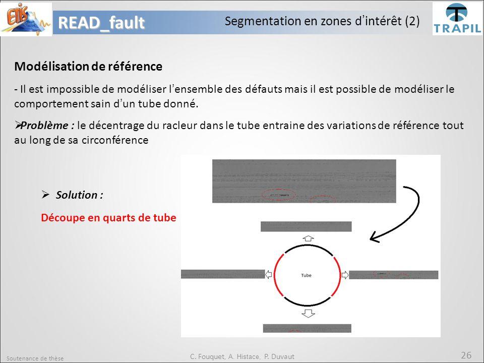 Soutenance de thèse 26READ_fault C. Fouquet, A. Histace, P. Duvaut Segmentation en zones d'intérêt (2) Modélisation de référence - Il est impossible d