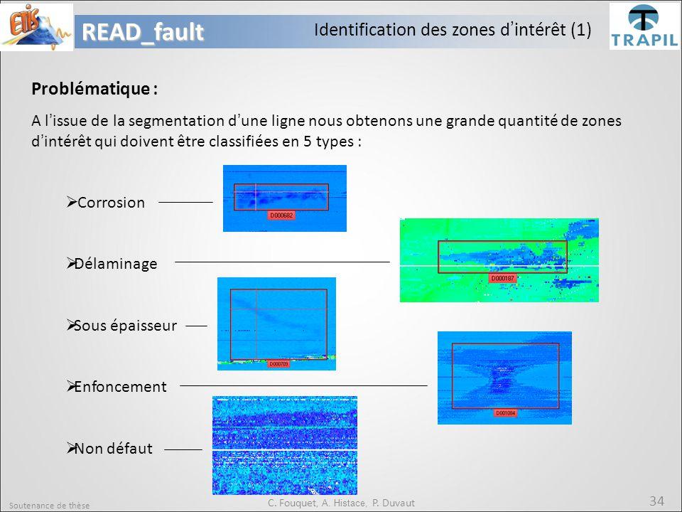 Soutenance de thèse 34READ_fault C. Fouquet, A. Histace, P. Duvaut Identification des zones d'intérêt (1) Problématique : A l'issue de la segmentation