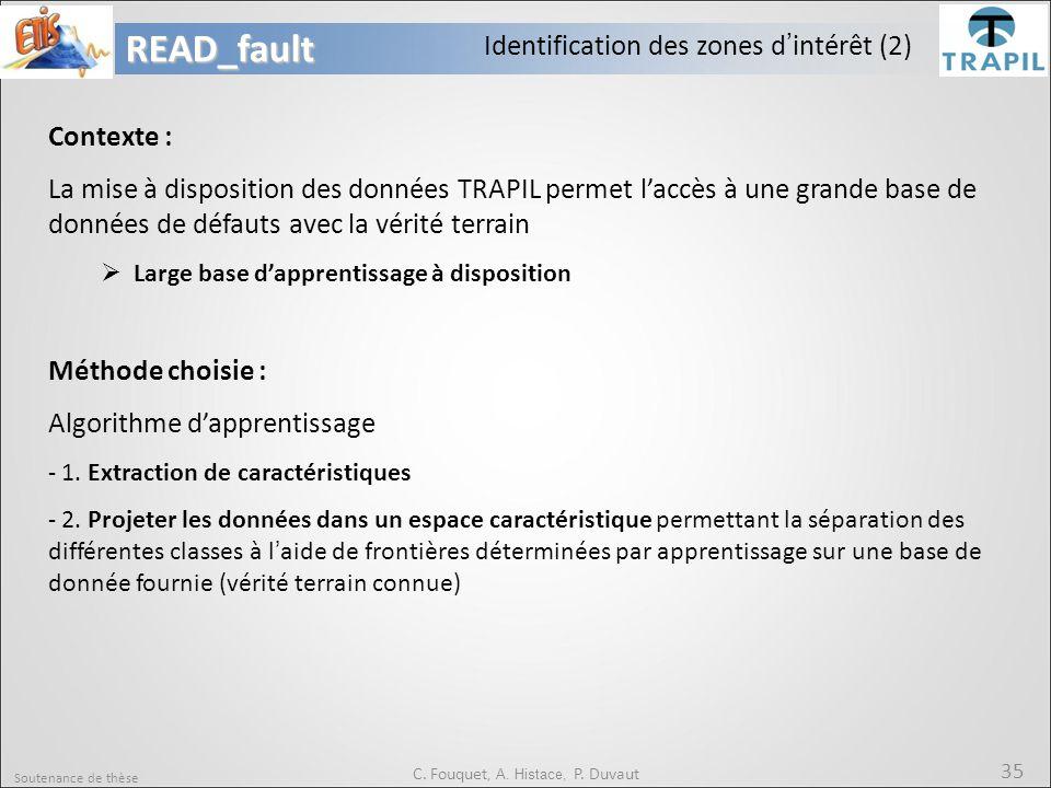Soutenance de thèse 35READ_fault C. Fouquet, A. Histace, P. Duvaut Identification des zones d'intérêt (2) Contexte : La mise à disposition des données