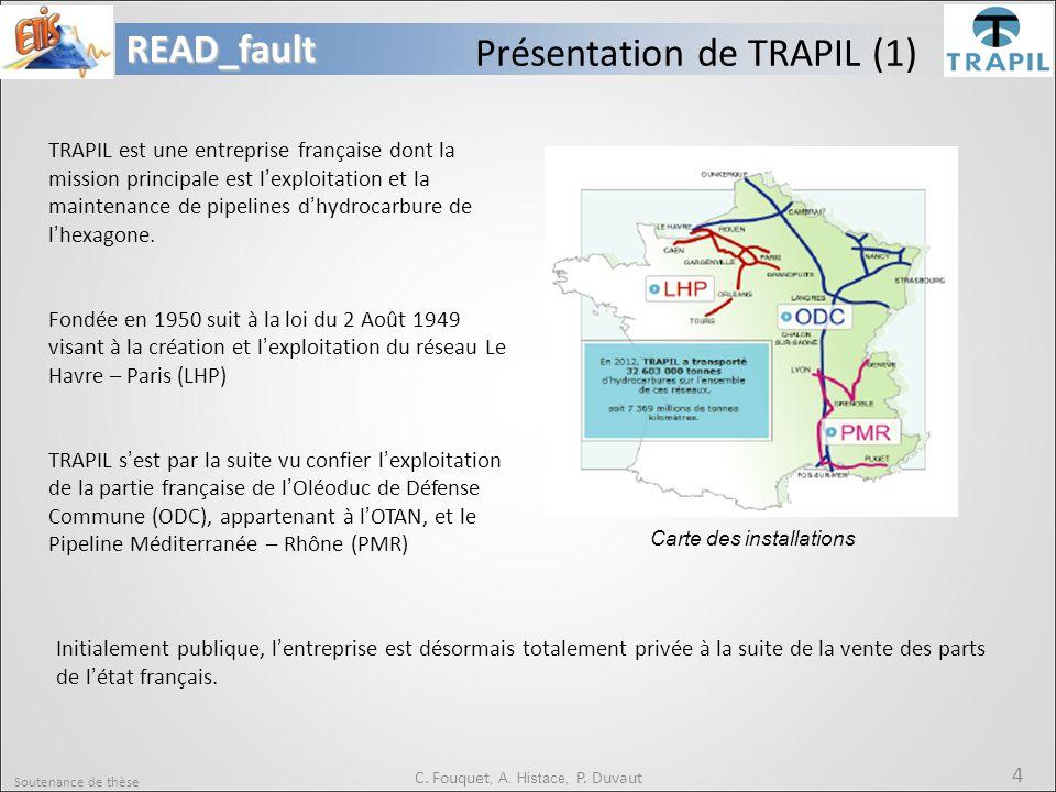 Soutenance de thèse 4READ_fault C. Fouquet, A. Histace, P. Duvaut Présentation de TRAPIL (1) TRAPIL est une entreprise française dont la mission princ