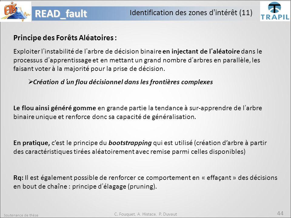Soutenance de thèse 44READ_fault C. Fouquet, A. Histace, P. Duvaut Principe des Forêts Aléatoires : Exploiter l'instabilité de l'arbre de décision bin