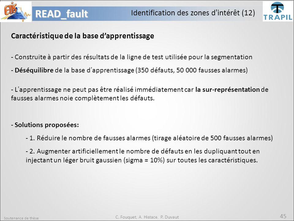 Soutenance de thèse 45READ_fault C. Fouquet, A. Histace, P. Duvaut Caractéristique de la base d'apprentissage - Construite à partir des résultats de l