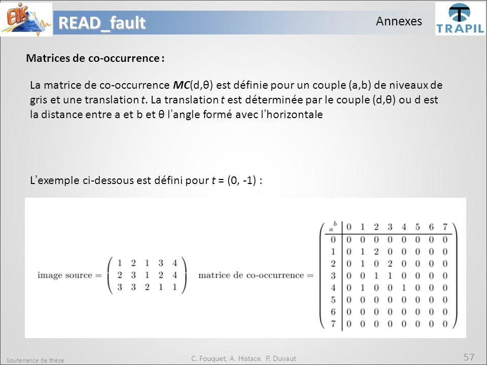Soutenance de thèse 57READ_fault C. Fouquet, A. Histace, P. Duvaut Annexes Matrices de co-occurrence : La matrice de co-occurrence MC(d,θ) est définie