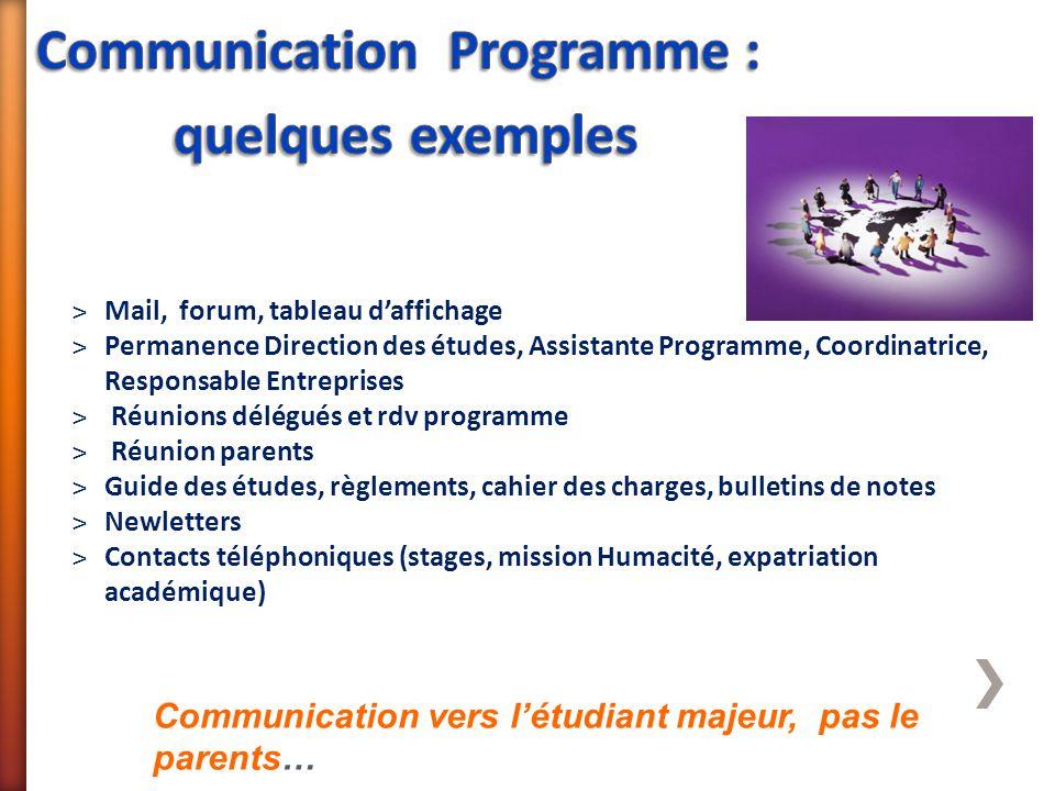 ˃Mail, forum, tableau d'affichage ˃Permanence Direction des études, Assistante Programme, Coordinatrice, Responsable Entreprises ˃ Réunions délégués e