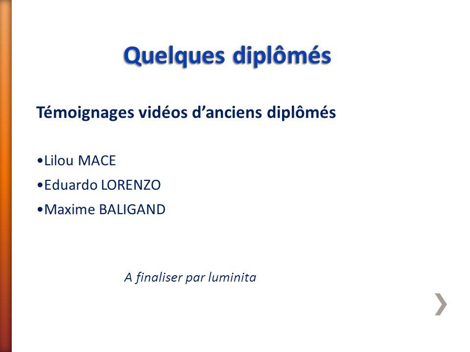 Témoignages vidéos d'anciens diplômés Lilou MACE Eduardo LORENZO Maxime BALIGAND A finaliser par luminita