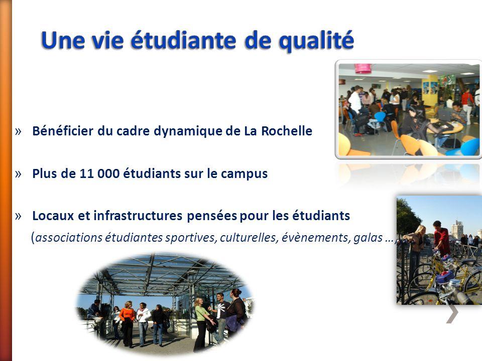 » Bénéficier du cadre dynamique de La Rochelle » Plus de 11 000 étudiants sur le campus » Locaux et infrastructures pensées pour les étudiants ( assoc